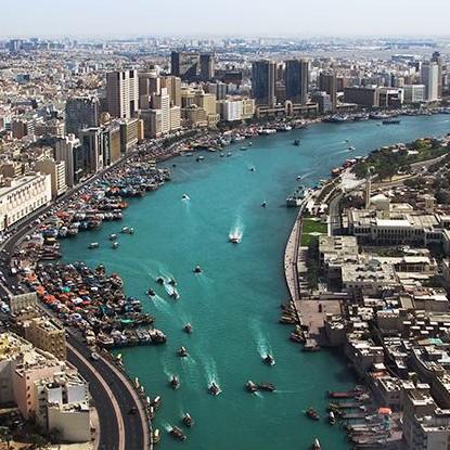 Dubai Creek desde el aire - Al Fahidi Fort